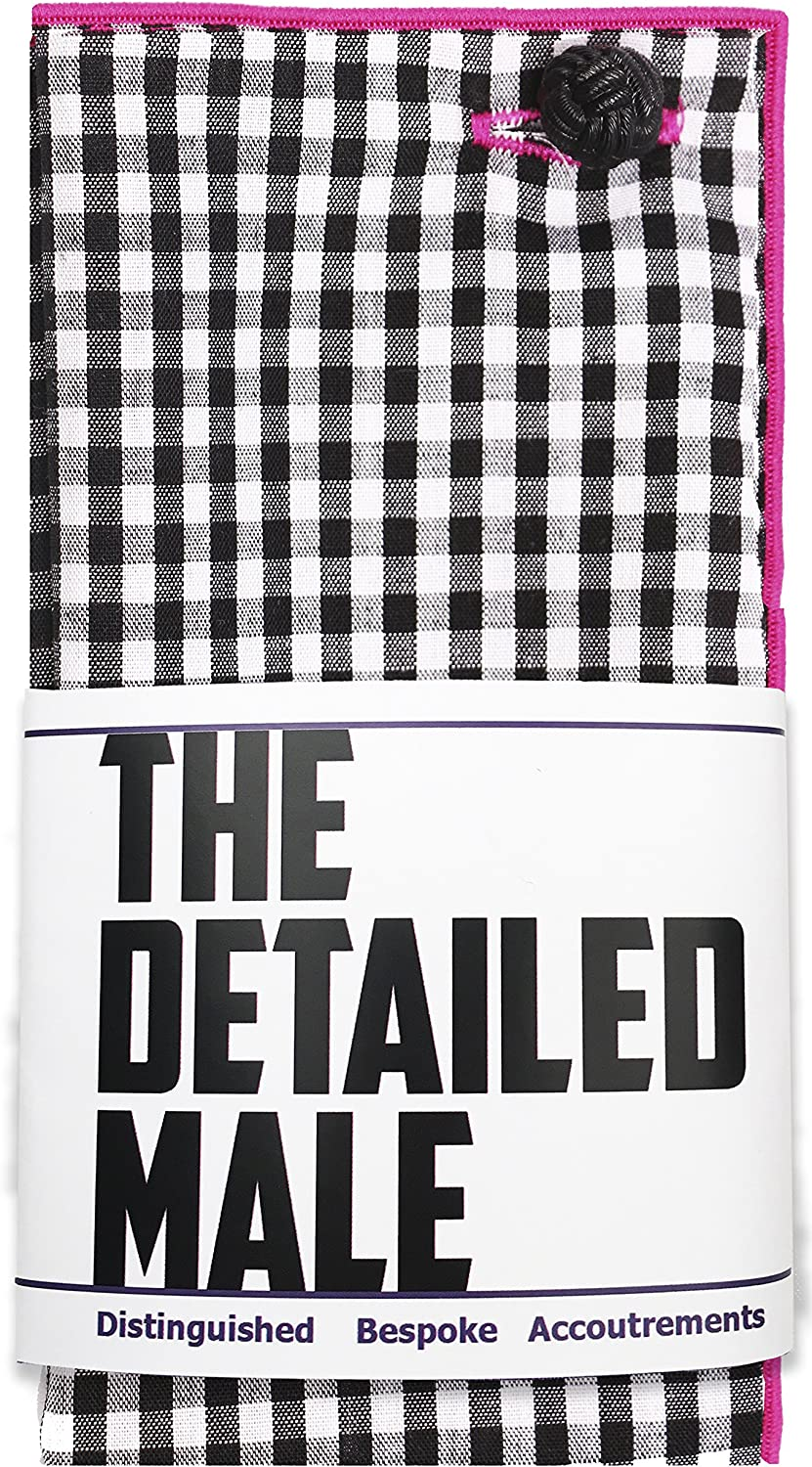 Black and White Gingham with Black Button Mens Pocket Square by The Detailed Male