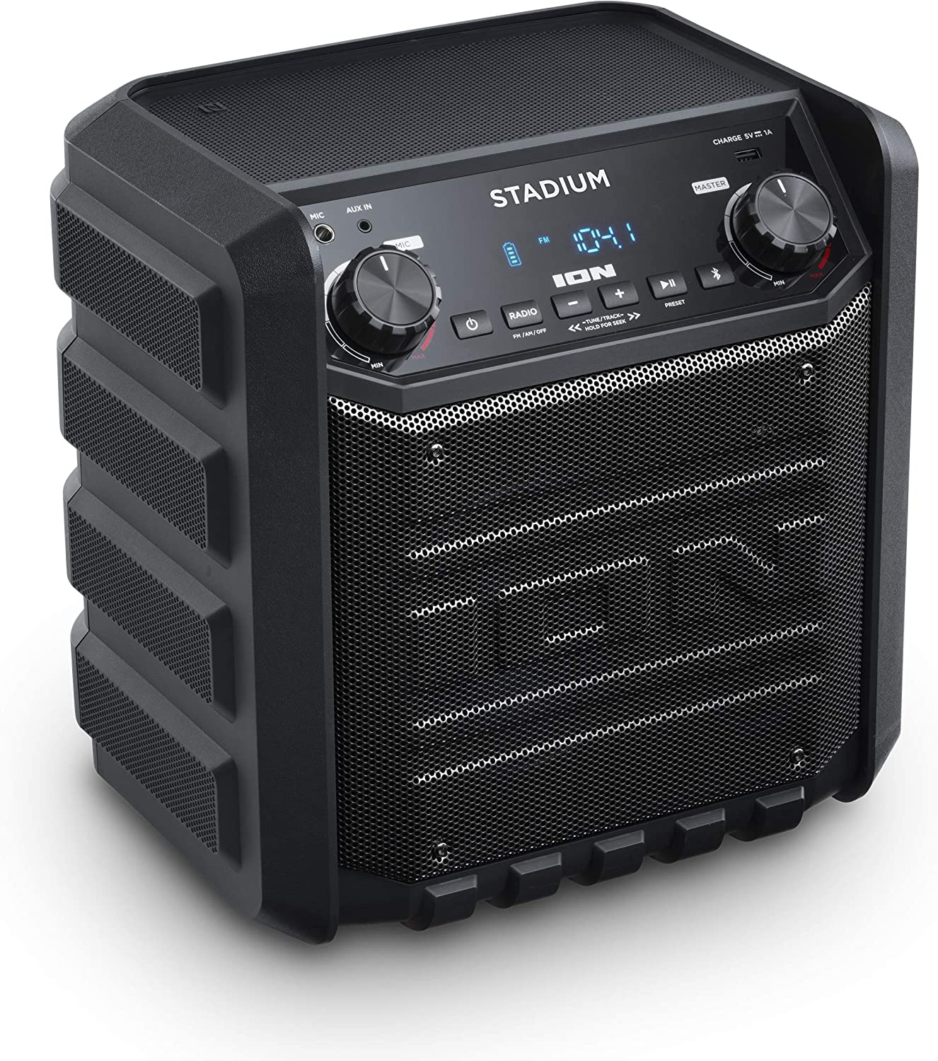 ION IPA8S Stadium Bluetooth Tailgate Speaker 8 Watt PortableRechargeable  AM/FM Includes Mic and Cable Black