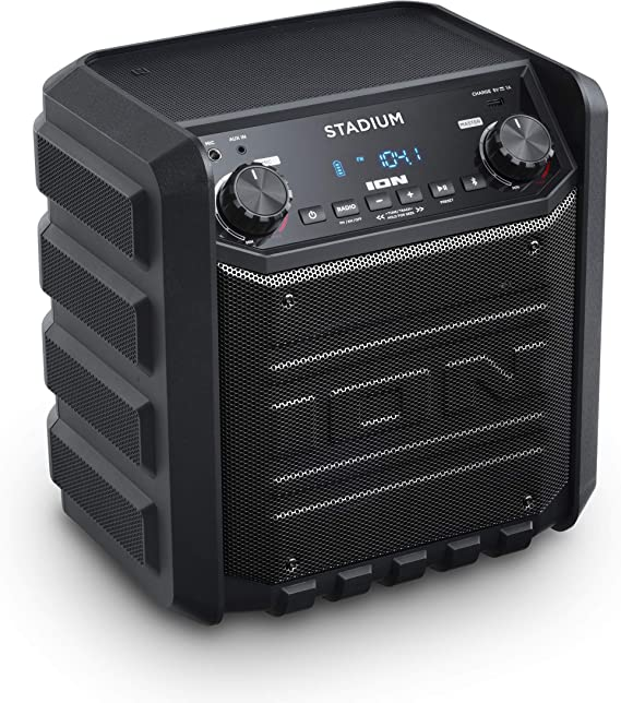 ION IPA9S Stadium Bluetooth Tailgate Speaker 9 Watt PortableRechargeable  AM/FM Includes Mic and Cable Black