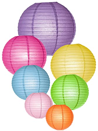 Round chinese paper lanterns with led lights assorted colors round chinese paper lanterns with led lights assorted colors sizes fiesta junglespirit Gallery