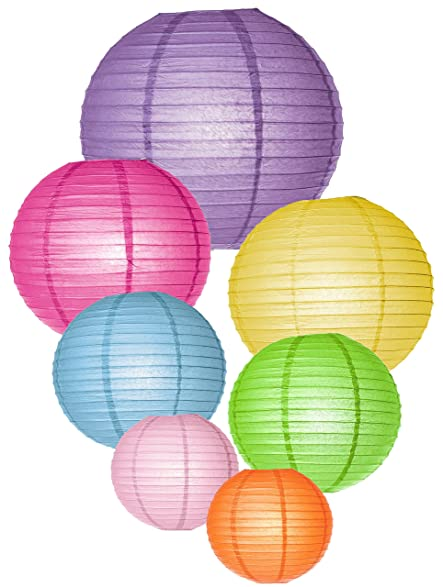 Round chinese paper lanterns with led lights assorted colors round chinese paper lanterns with led lights assorted colors sizes fiesta junglespirit Images
