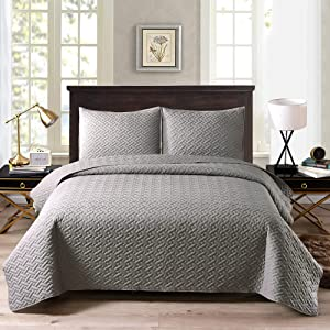 ExclusivoMezcla2-PieceTwinSizeQuiltSetwithPillowSham,BasketQuiltedBedspread/Coverlet/BedCover(68x88Inches,LightGrey)-Soft,Lightweight and Reversible