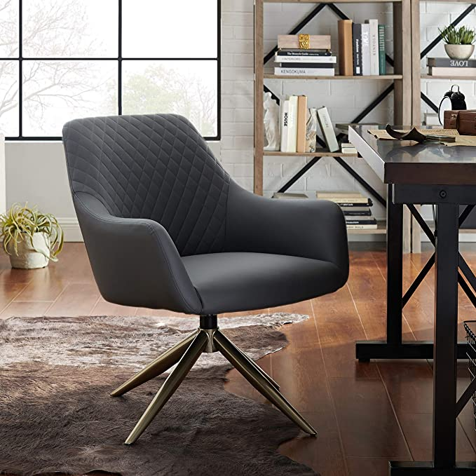 Amazon.com: Volans Modern Mid Century Swivel Faux Leather Home Office Chair No Wheels with Arms for Small Space Living Room Bedroom Desk, Gray: Kitchen & Dining