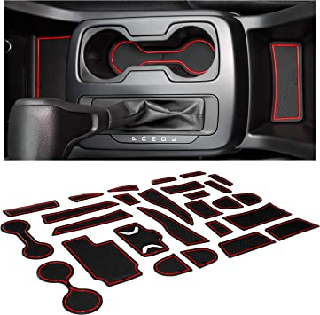 and Center Console Insert Mat Kit 26-PC Set JDMCAR Custom Liner Accessories Compatible with Colorado and Canyon 2015-2021 Cup Holder Door Pocket Crew Cab, Red Trim
