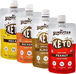 product image for Keto Nut Butter, Variety Pack – Keto Snacks with MCT Oil, Fat Bomb Low Carb Snacks (2-3 Net Carbs), On-the-go Keto Food by Yumbutter, 3.4oz pouch, 4 pack