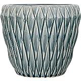 Bloomingville Diamond Round Ceramic Flower Pot, Large, Blue