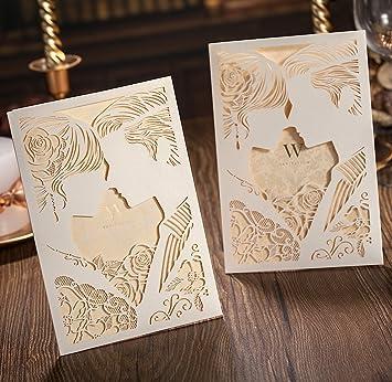 Amazon wishmade 12x elegant laser cut wedding invitations cards wishmade 12x elegant laser cut wedding invitations cards kit bride and groom kiss hollow out stopboris Gallery