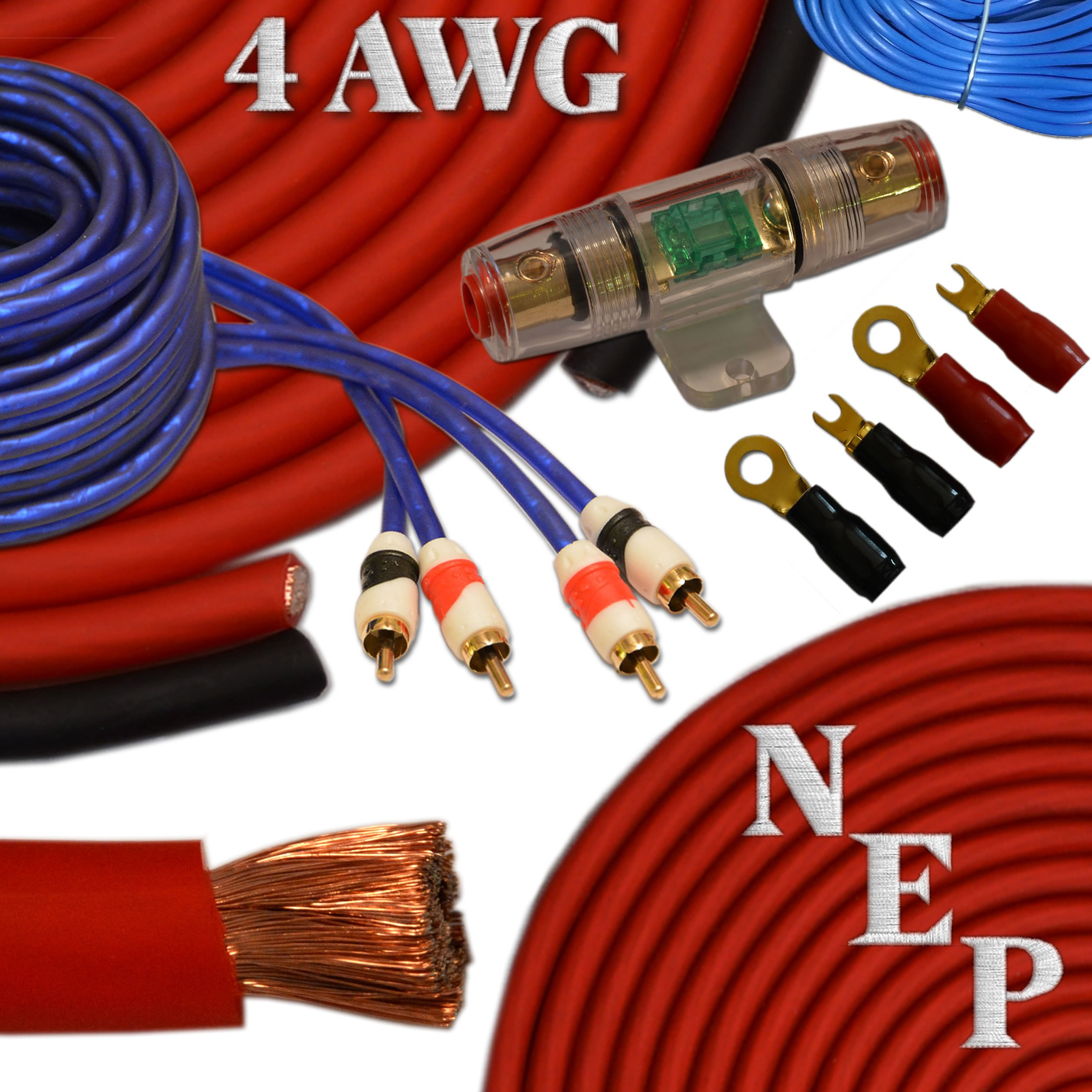 Best rated in car amplifier wiring kits helpful customer reviews 4 gauge amp kit 20 oversized 4 awg power ground cable 100 keyboard keysfo Images