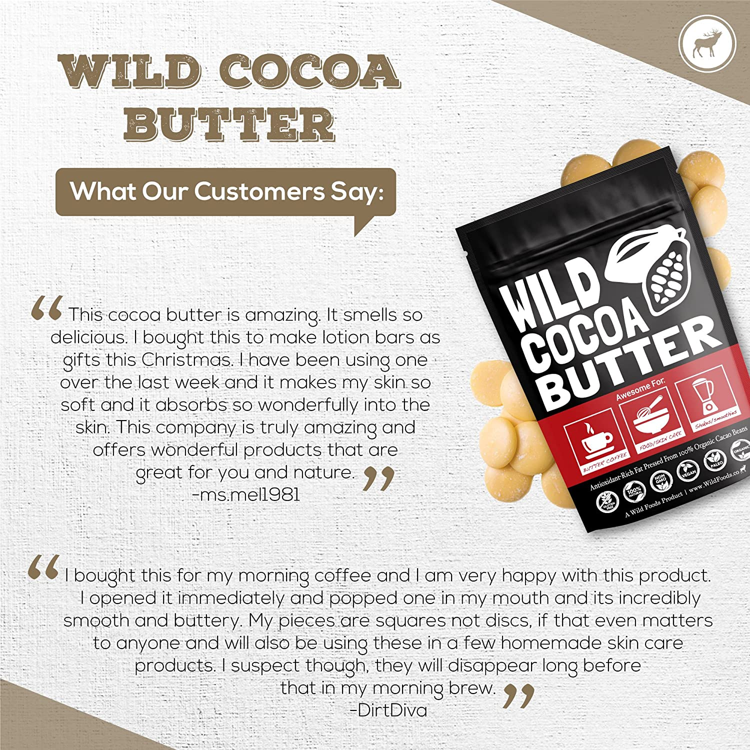 Raw Organic Cocoa Butter Wafers from Peru | Unrefined, Non-Deodorized, Food Grade, Plant-Based, Paleo, Vegan Body Butter - Great for DIY Recipes, Baking, Keto Coffee, Skincare and Haircare (16 oz) : Beauty