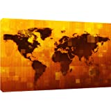"MOOL ""Grunge Digital World Map"" Canvas Wall Art Print, Orange, Large, 32 x 22-Inch"
