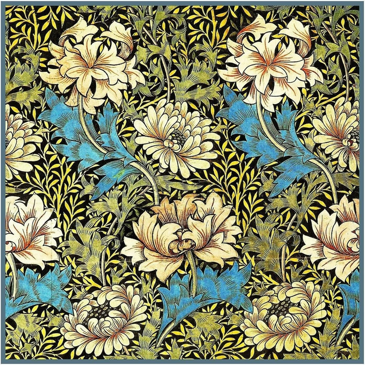 Orenco Originals Chrysanthemum Detail Blue Pink William Morris Design Counted Cross Stitch Pattern