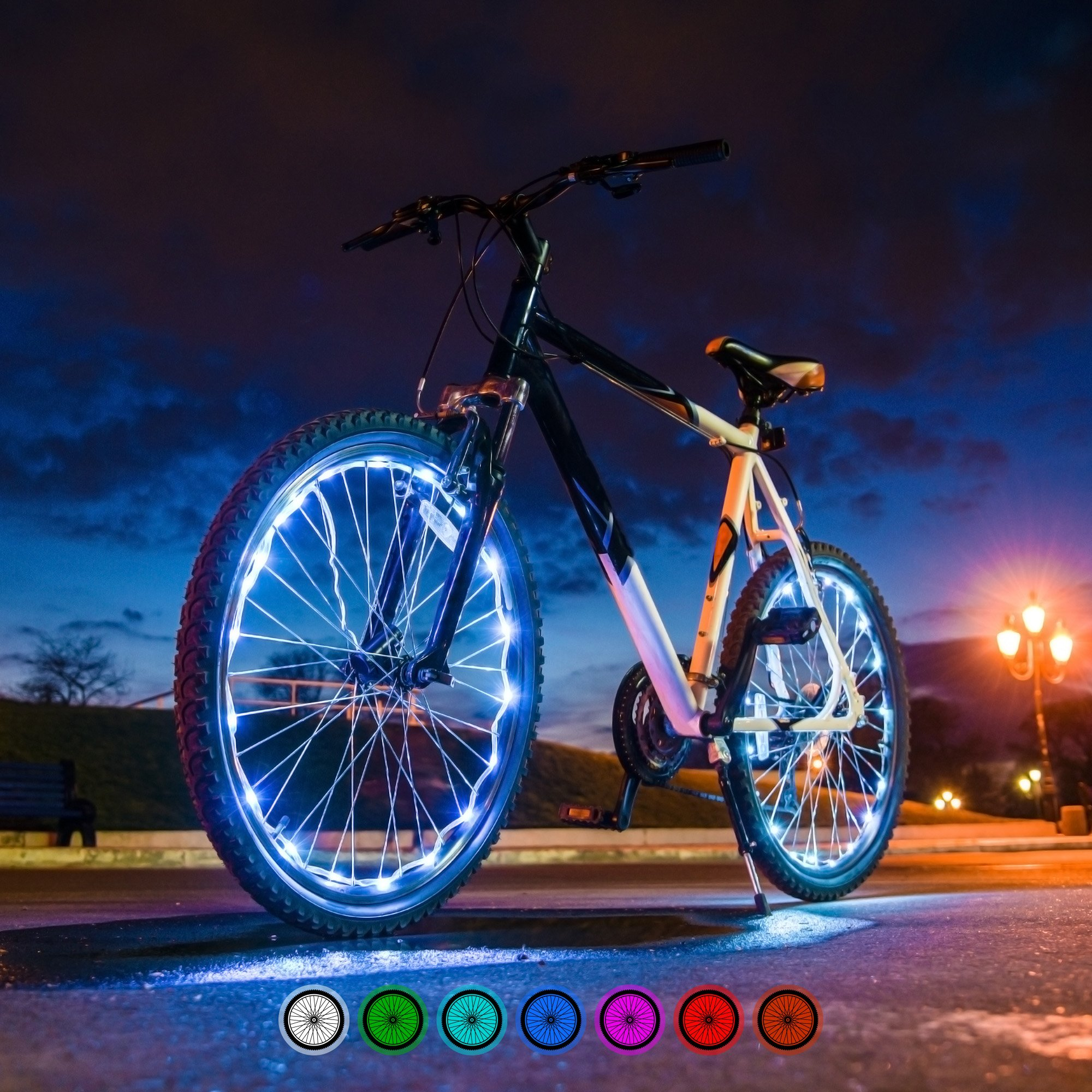 Bright Spokes Premium LED Bike Wheel Lights | 7 Colors in 1 | USB Rechargeable Battery | Strong Silicone Tube Cover | 18 Modes | Best Gift for all ages | 5, 6, 7, 8, 9 + year old boy gifts (1 Tire) by Gear Nation (Image #9)