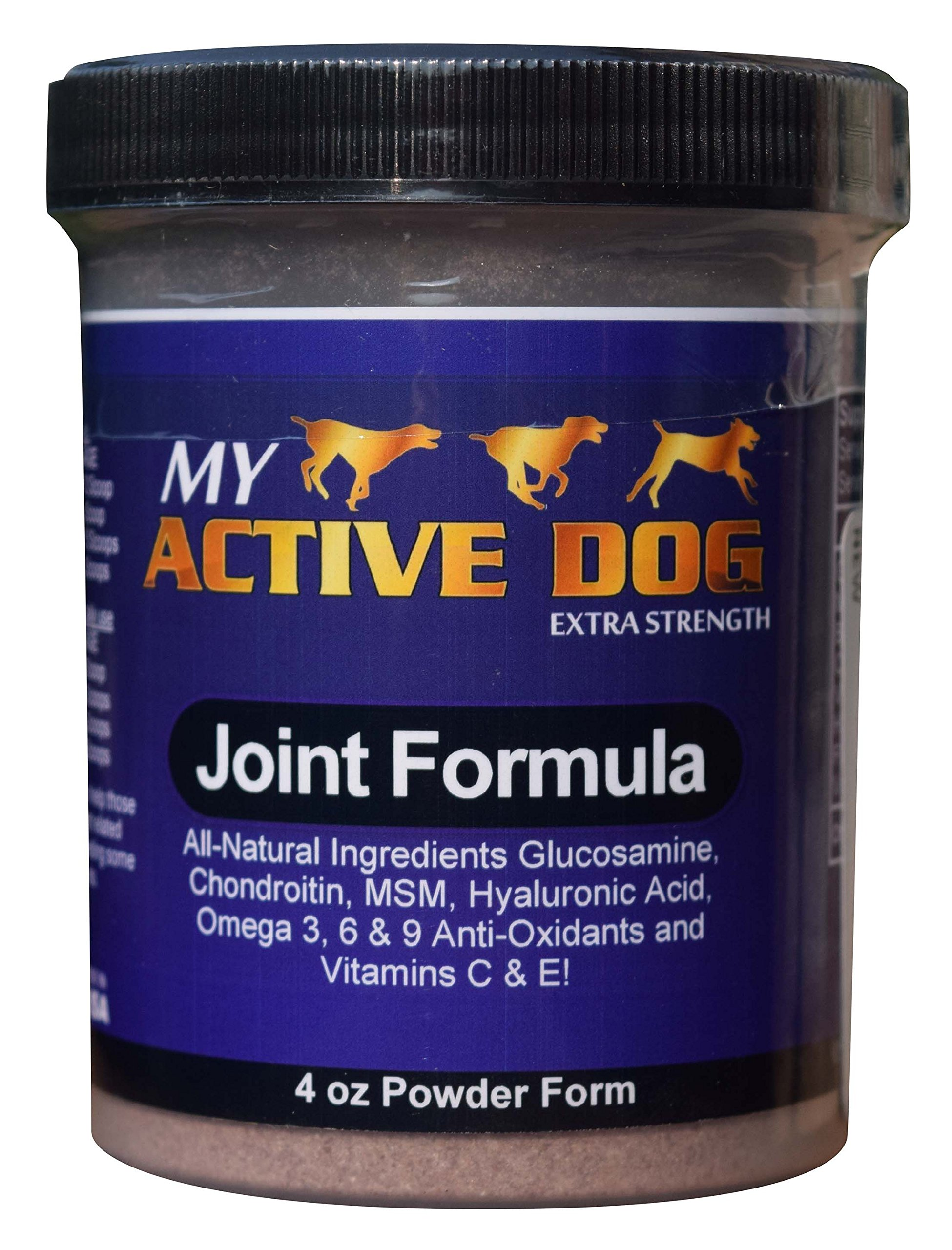 My Active Dog Glucosamine – Best for Joint Support, Reduces Pain - Made in USA All-Natural Ingredients w/Chondroitin, MSM, Hyaluronic Acid, Vitamins C&E, Anti-oxidants & Omega3 - Includes Measure