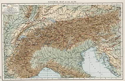 Amazon.com: World Atlas | 1900 General map of the Alps | Historic ...