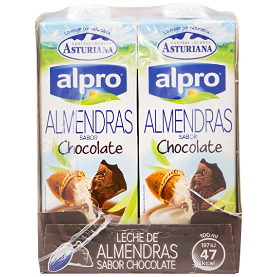 Alpro Central Lechera Asturiana Bebida de Almendra Chocolate - Paquete de 8 x 1000 ml -