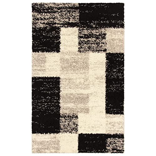 Blue Nile Mills Aliza Shag Area Rug, Soft, Extra-Thick Pile, Shabby-Chic, Retro, Geometric Block Design, Jute Backing, Grey, 5 x 8