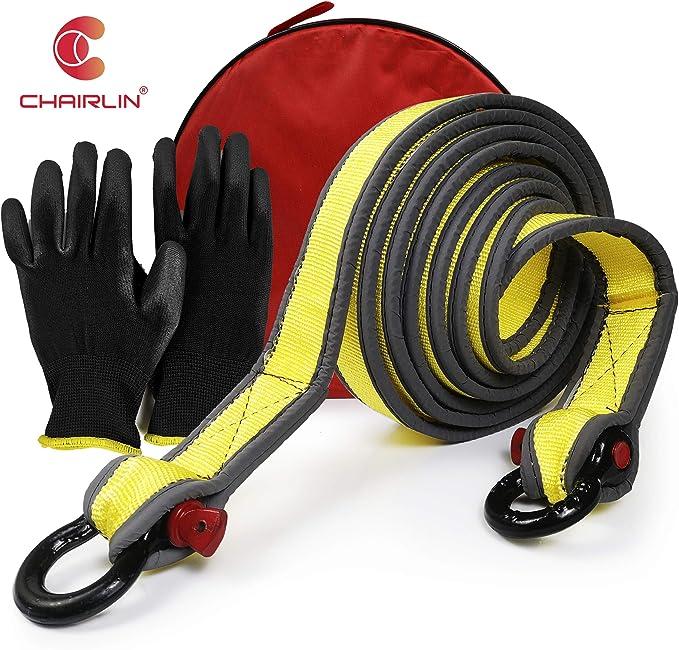 Chairlin Abschleppseil 5 Cm X 4 M Laborgetestet 9 Tonnen Bruchfestigkeit Strapazierfähige Tasche Mit Kordelzug Dreifach Verstärkte Schlaufenende Für Sicherheit Notfall Abschleppgurt Auto