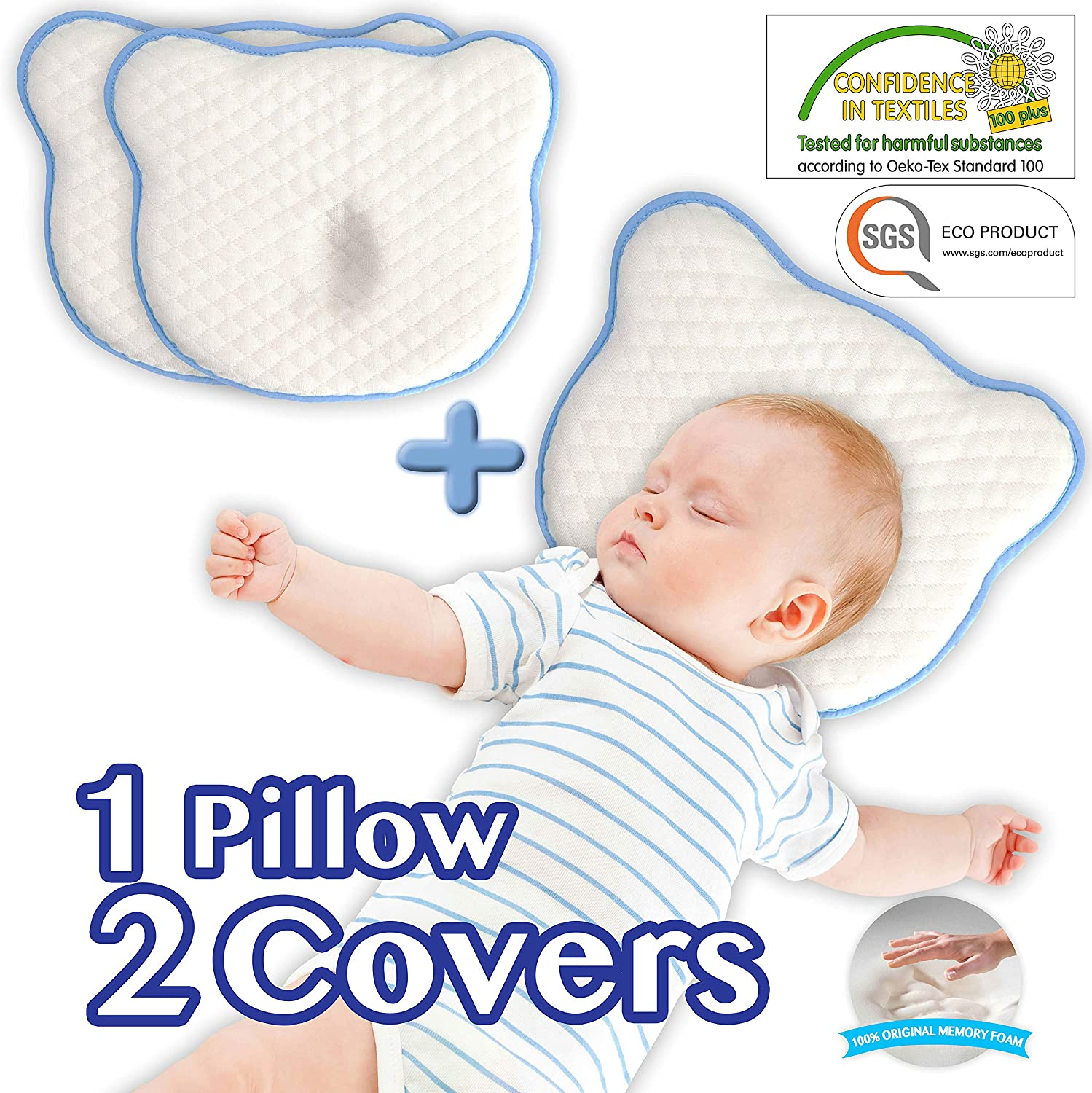 2 Washable 100/% Cotton Covers for Newborn Infant to Prevent Flathead or Plagiocephaly Syndrome Soft Memory Foam Cushion Flat Head Shaping Baby Pillow by ZOSTRATI 0-12months White