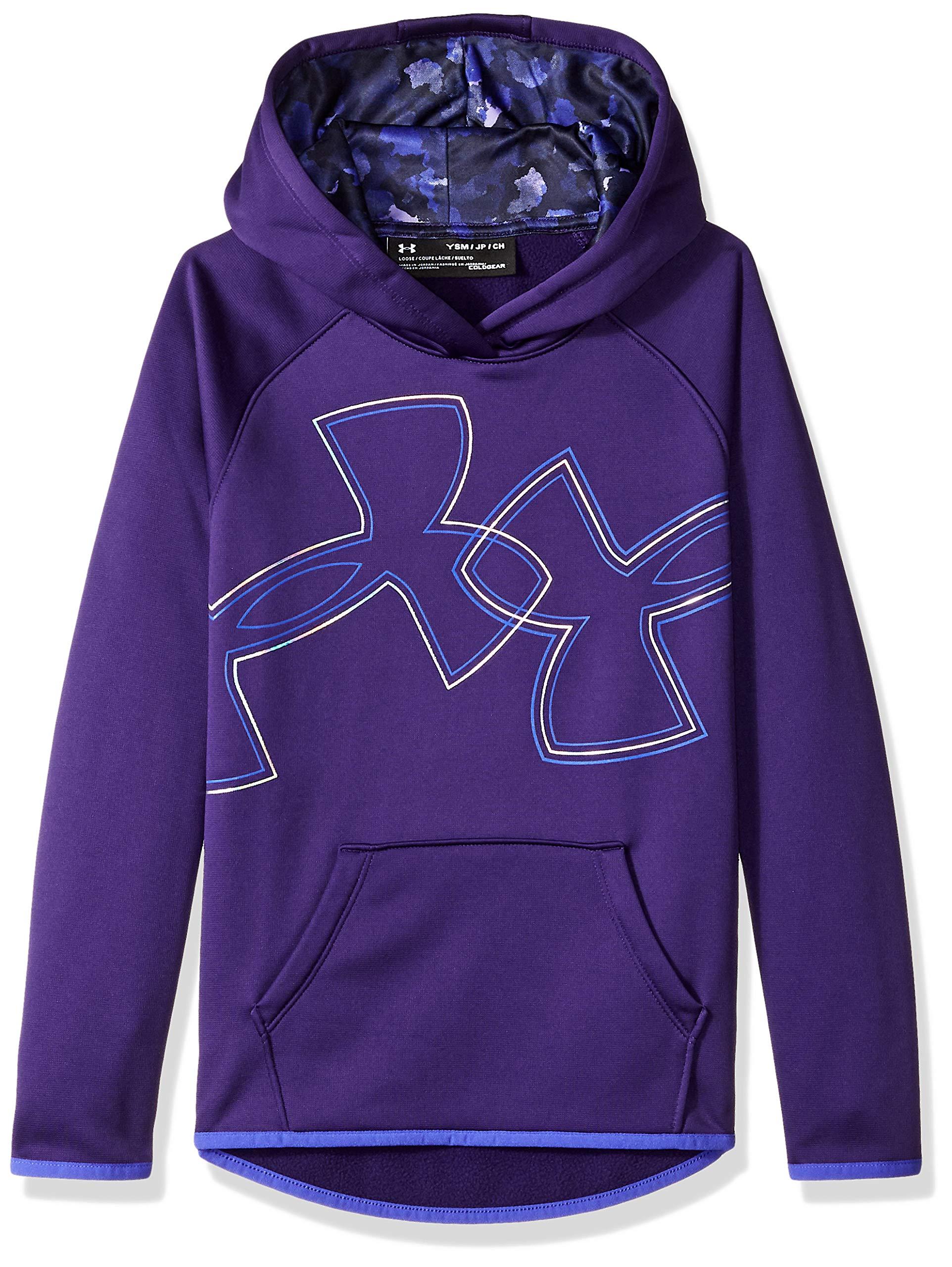 Under Armour Girls Armour Fleece Dual Logo Hoodie, Purple (500), Youth Medium by Under Armour