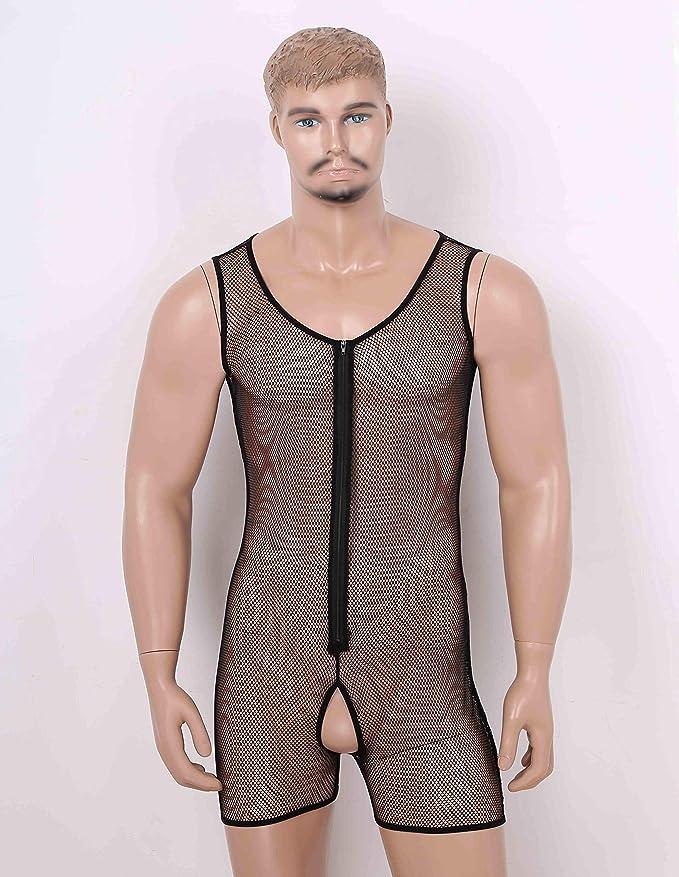 iixpin Mens One-Piece Fishnet Mesh See-Through Wrestling Singlet Bodysuit Underwear