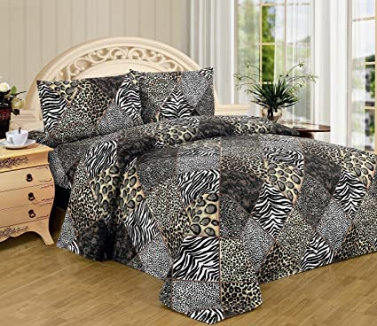 Fancy Linen Black White Leopard Zebra Sheet Set 4 Pc Safari Animal Print  Pillow Shams Bedding