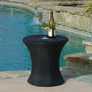 Lorenzo Outdoor Black Wicker Accent Table