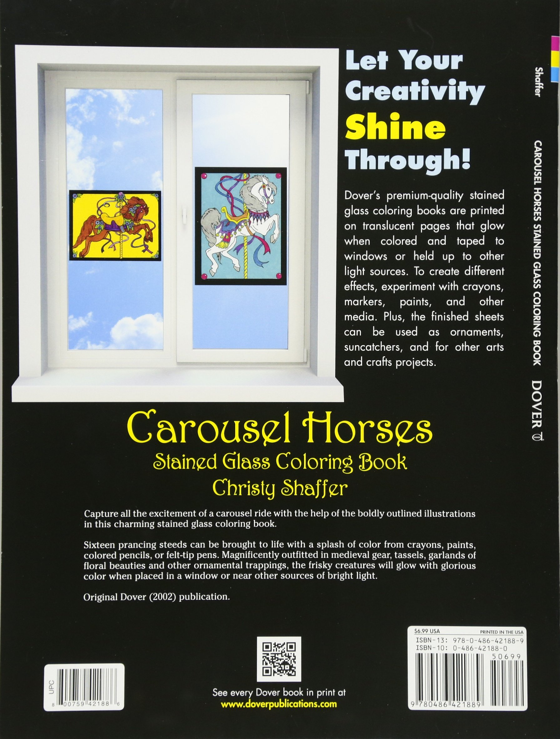 Carousel Horses Stained Glass Coloring Book Dover Free Printable Carosel Pages