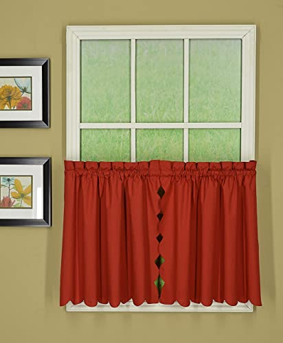 Today s Curtain Orleans 30 Tier Pair with Tiebacks Tambour Scallop Edge Curtain, Brick Red, 60 W X L Tb