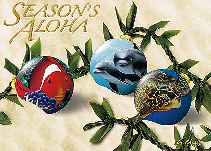 ocean ornaments by mark mackay set of 12 hawaiian christmas cards - Hawaiian Christmas Cards