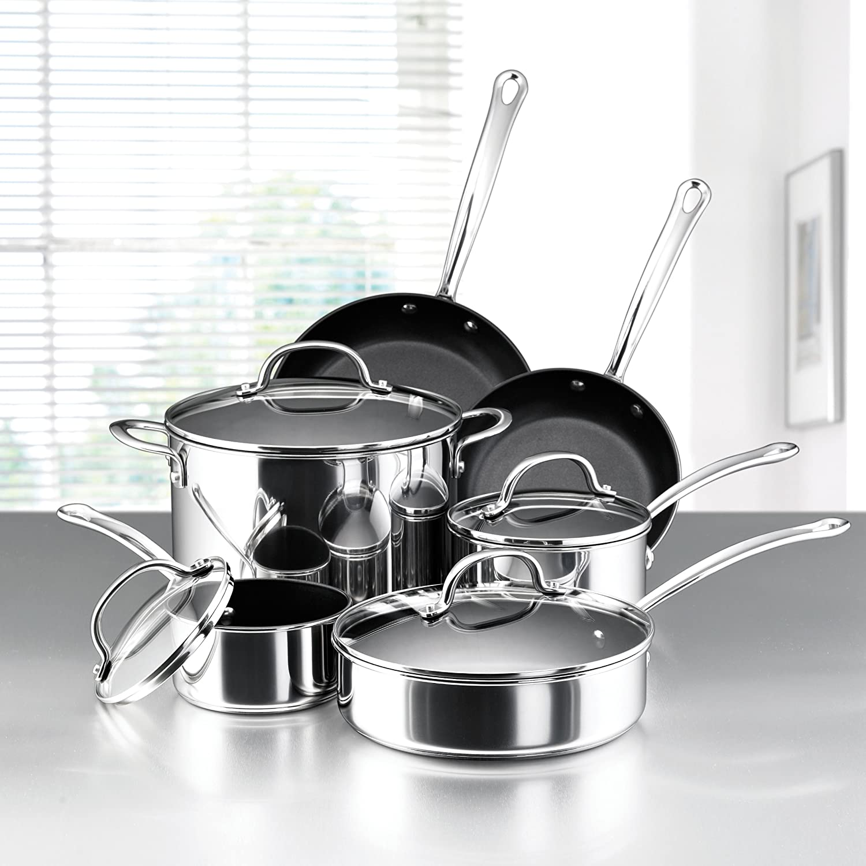 Amazon Com Farberware Millennium Stainless Steel Nonstick 10 Piece Cookware Set Stainless Steel Teflon Coated Cookware Kitchen Dining