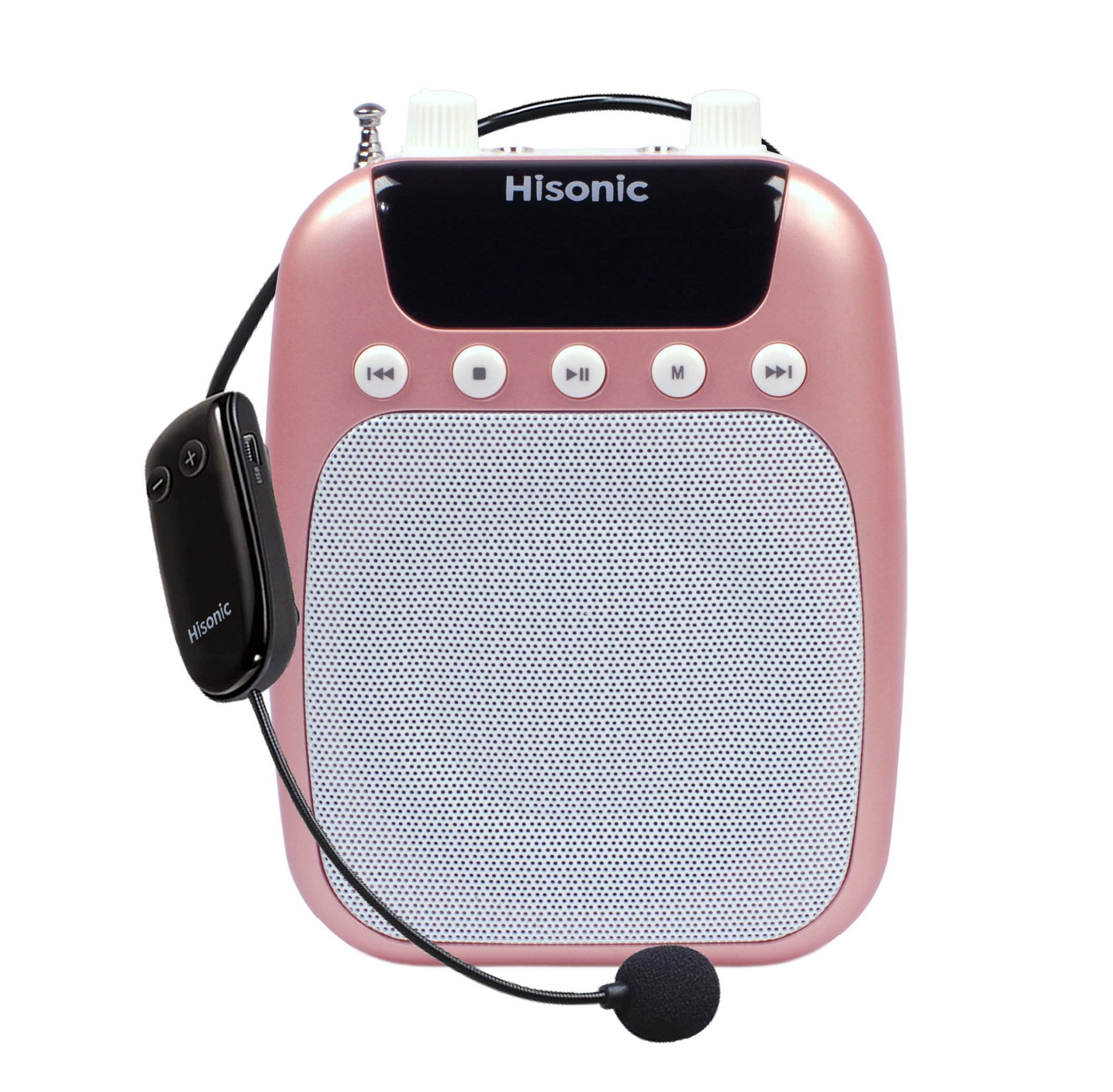 Hisonic HS320 10 Watts Rechargeable 4-in-1 Mini Audiopod: Voice Amplifier with UHF Wireless Headset Microphone + Portable Speaker + Digital Voice Recorder + FM Radio