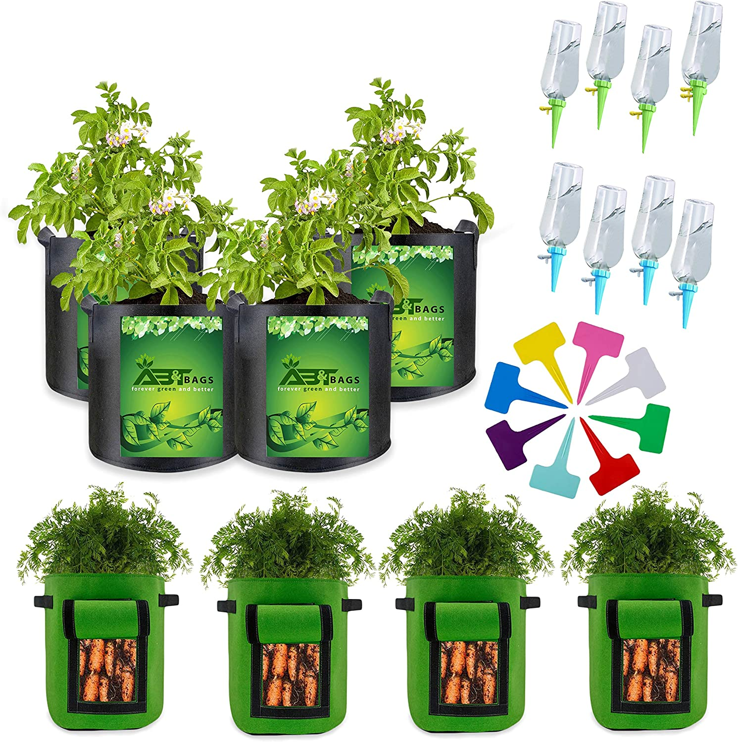 Grow Bags Potato Grow Bags 7 Gallon 8 Pack with Flap Handles Thickened Nonwoven Fabric Pots Tomato Planter Bags Plant 8 Watering Spikes Garden Container Vegetables Planter Pots Plant Waterer