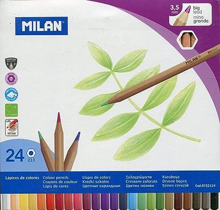 Milan 0722124 - Pack de 24 lápices de colores, mina grande: Amazon ...