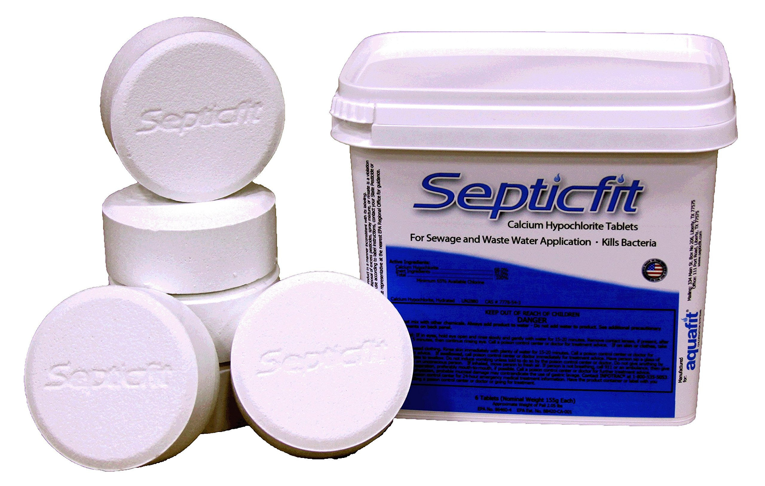 Septicfit Septic Chlorine Tablet - 6 Tablet Pail - 2 lbs by Septicfit