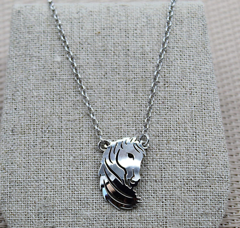 cadena y colgante con forma de cabeza de caballo de plata esterlina 925