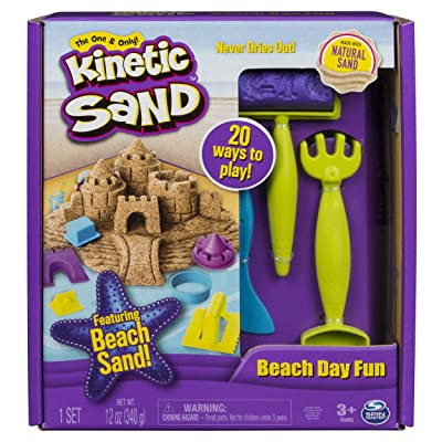 The One and Only Kinetic Sand, Beach Day Fun Playset with Castle Molds, Tools, and 12 oz. of Kinetic Sand for Ages 3 and Up - 6037423,Multicolor: Toys & Games