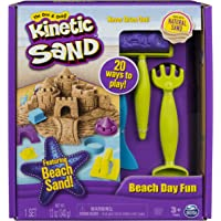 Kinetic Sand The One, Beach Day Fun Playset with Castle Molds, Tools, and 12 oz Ages 3 and Up
