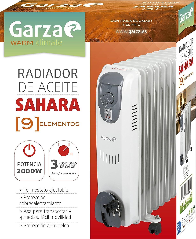 Garza Sahara - Radiador de aceite de 9 elementos con ruedas , potencia 2000W: Amazon.es: Hogar