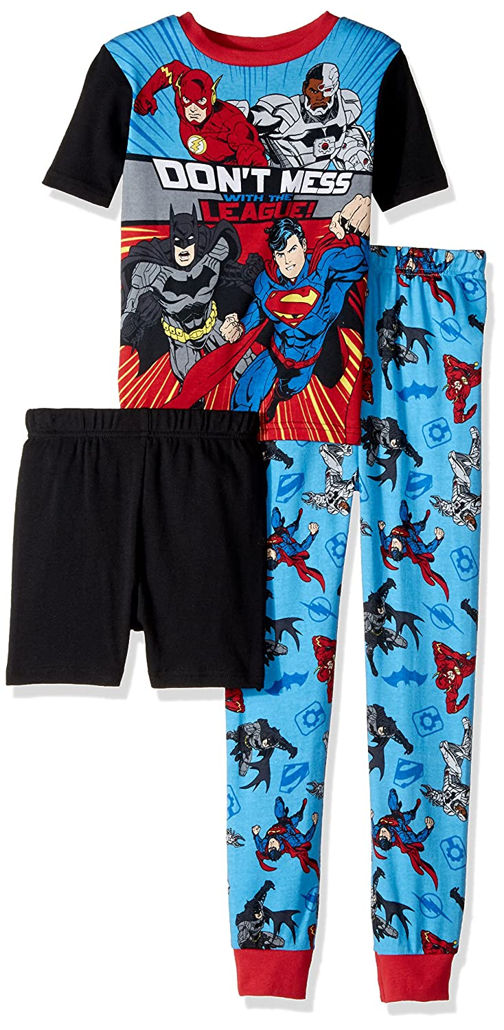 Justice League Boys' Big 3 Piece Cotton Pajama Set