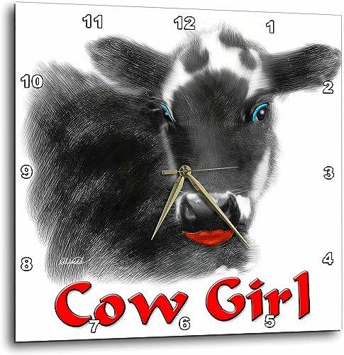 3dRose DPP_11986_2 Cow Girl Wall Clock, 13 by 13-Inch
