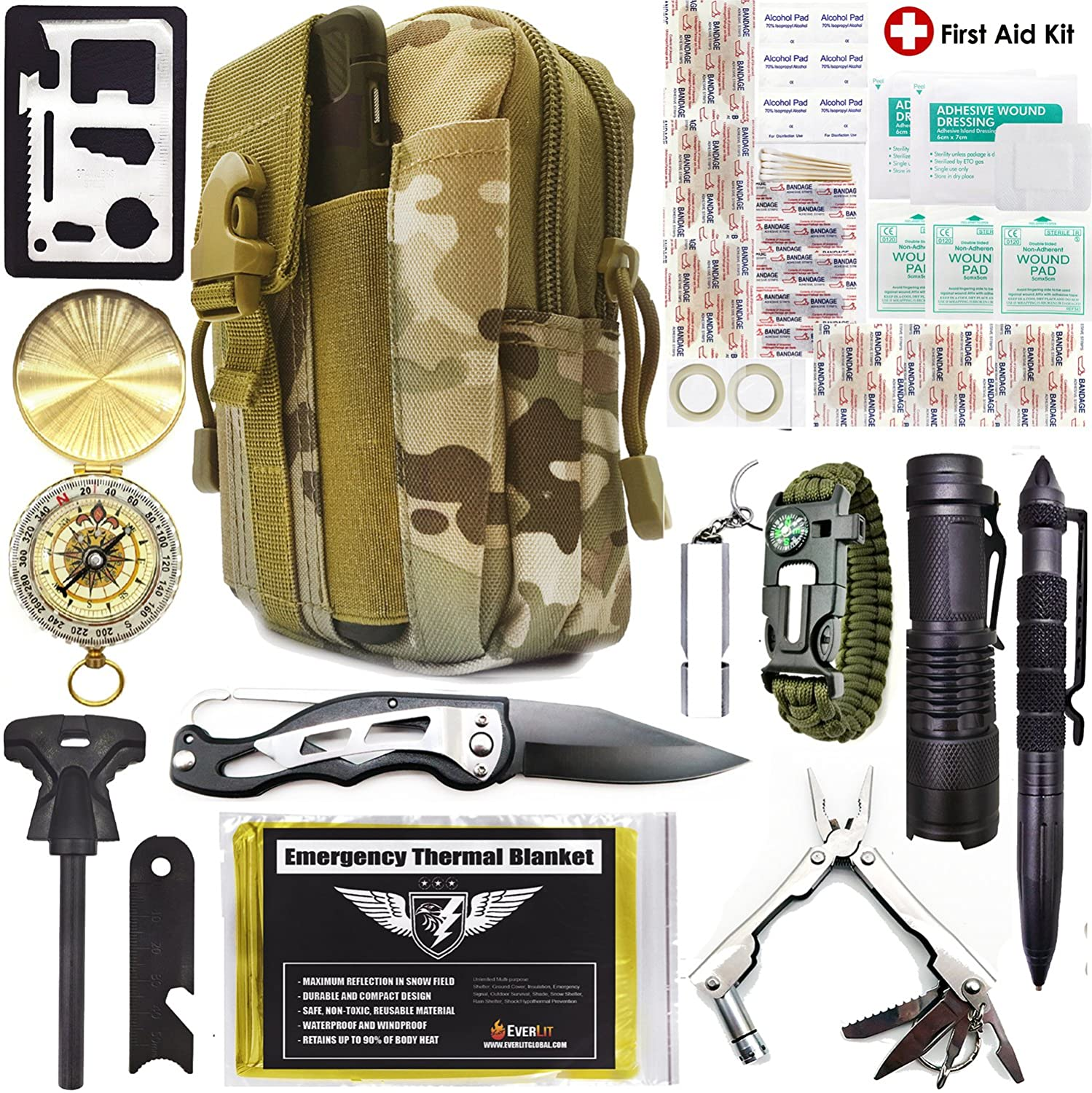 Everlit Emergency Survival Kit Upgraded 80-In-1 Molle Pouch/ Holster, Tactical Outdoor Gears, First Aid Supply, Survival Bracelet, Emergency Blanket, Tactical Pen, for Camping, Hiking, Hunting Fire Starter Plier