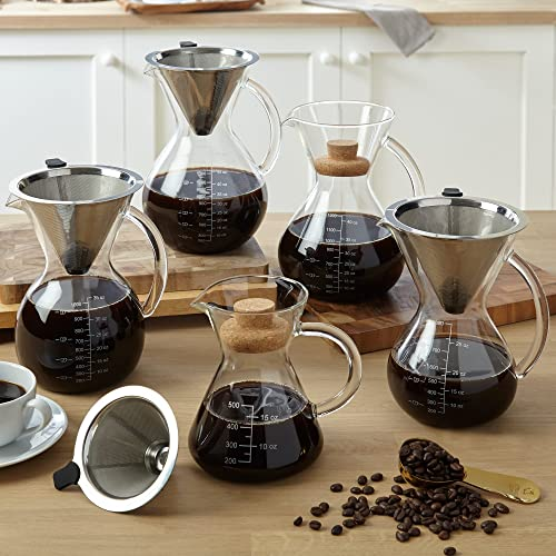 Apace Living Pour Over Coffee Maker Set w/Coffee Scoop and Cork Lid - Elegant Coffee Dripper Pot
