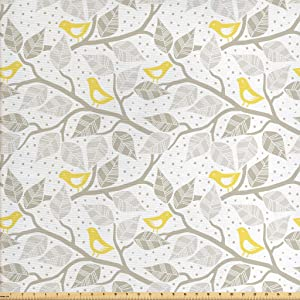 Lunarable Grey Fabric by The Yard, Birds on The Branch with Pastel Leaves on Dotted Background Nature Art, Decorative Fabric for Upholstery and Home Accents, 3 Yards, Yellow Beige