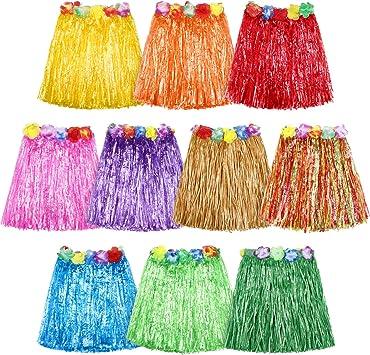 10 piezas de falda de hierba hawaiana para bailarina de hula de ...