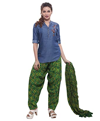e78cacc439c Rama Women's Cotton Printed Patiala with Dupatta Set (Green, Free Size):  Amazon.in: Clothing & Accessories