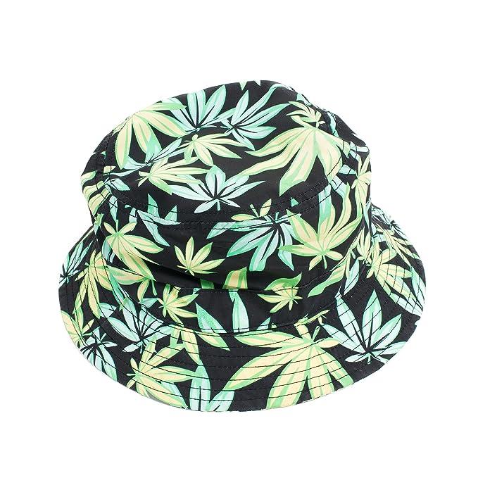 c48ae7c3b86 Green Leaf Weed Print Marijuana Cannabis Bucket Fisherman Hat Cap (Green  Black)