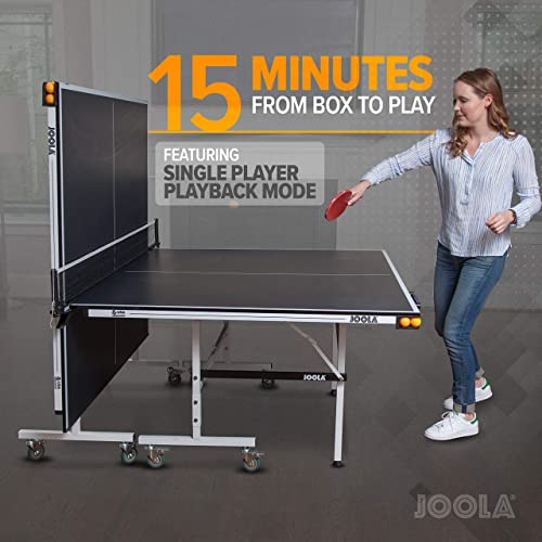 JOOLA Rally TL – Professional MDF Indoor Table Tennis Table w Quick Clamp Ping Pong Net Post Set – 10 Minute Easy Assembly – Corner Ball Holders – USATT Approved – Ping Pong Table w Playback Mode