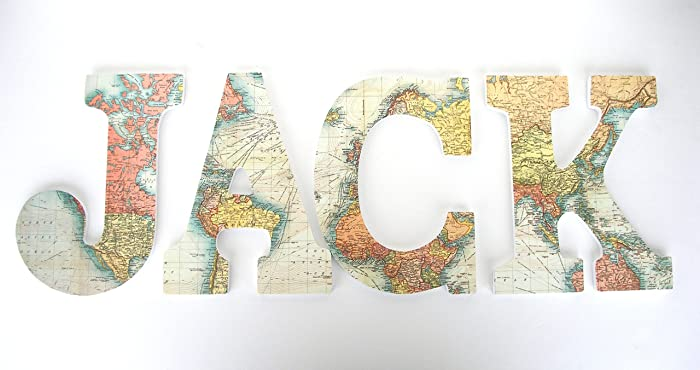 amazon com world map custom decorated wooden letters personalized
