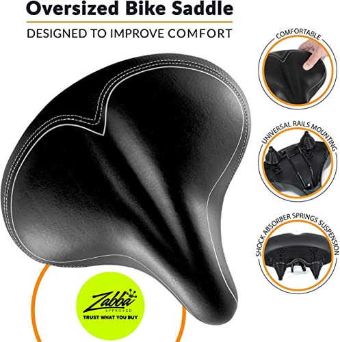 Oversized Most Comfortable Replacement Bike Seat - Universal Fit for Exercise Bike and Outdoor Bikes