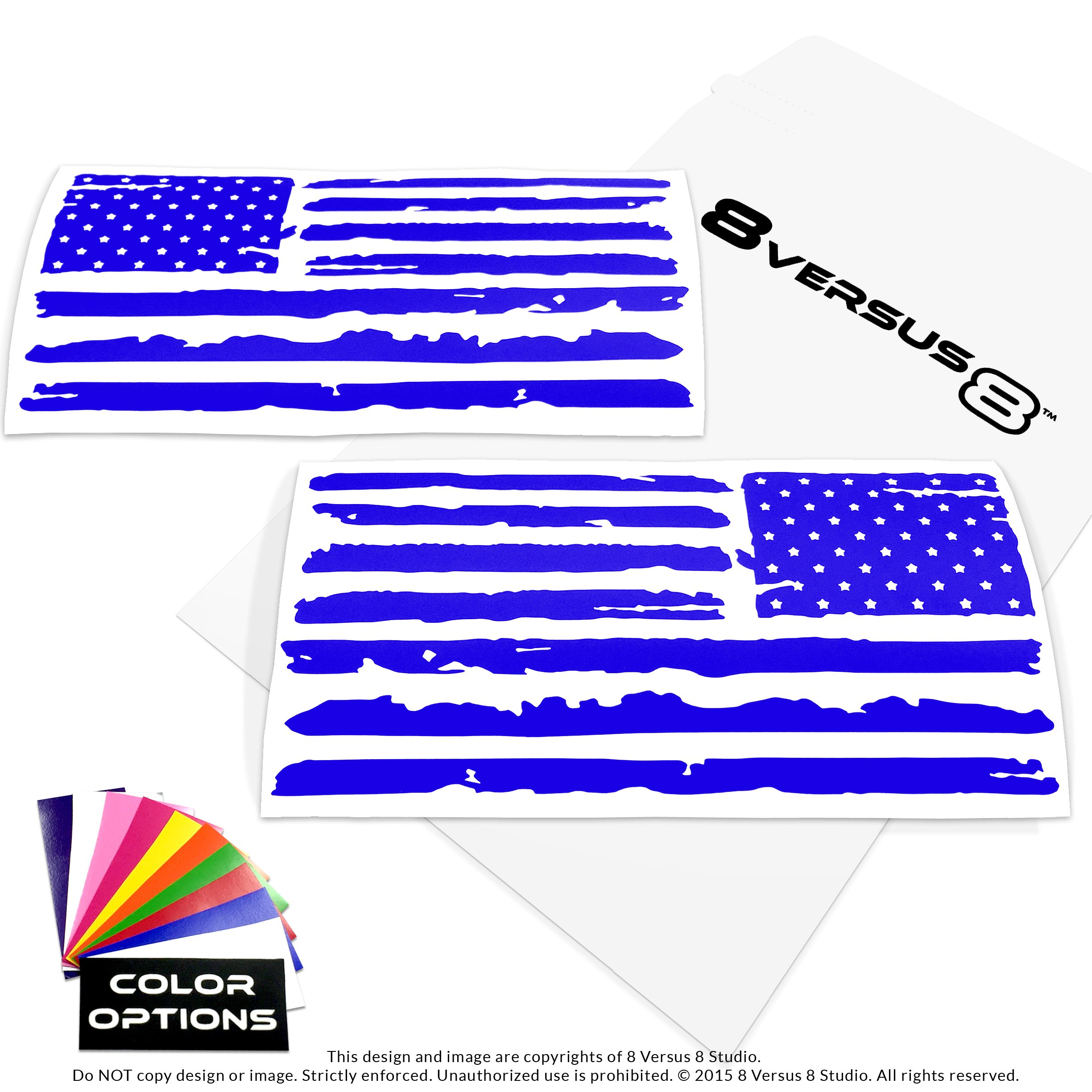 Distressed Flag Decal Sticker - Quantity: 2 - Indoors or Outdoors - Cars, Laptops, Walls, Windows, etc. (6.5'' wide x 3.2'' tall, Blue)